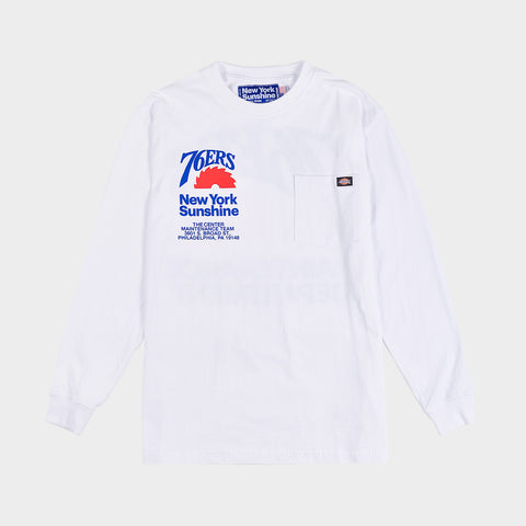 NEW YORK SUNSHINE X 76ERS DICKIES INSTALL TEAM L/S TEE - WHITE