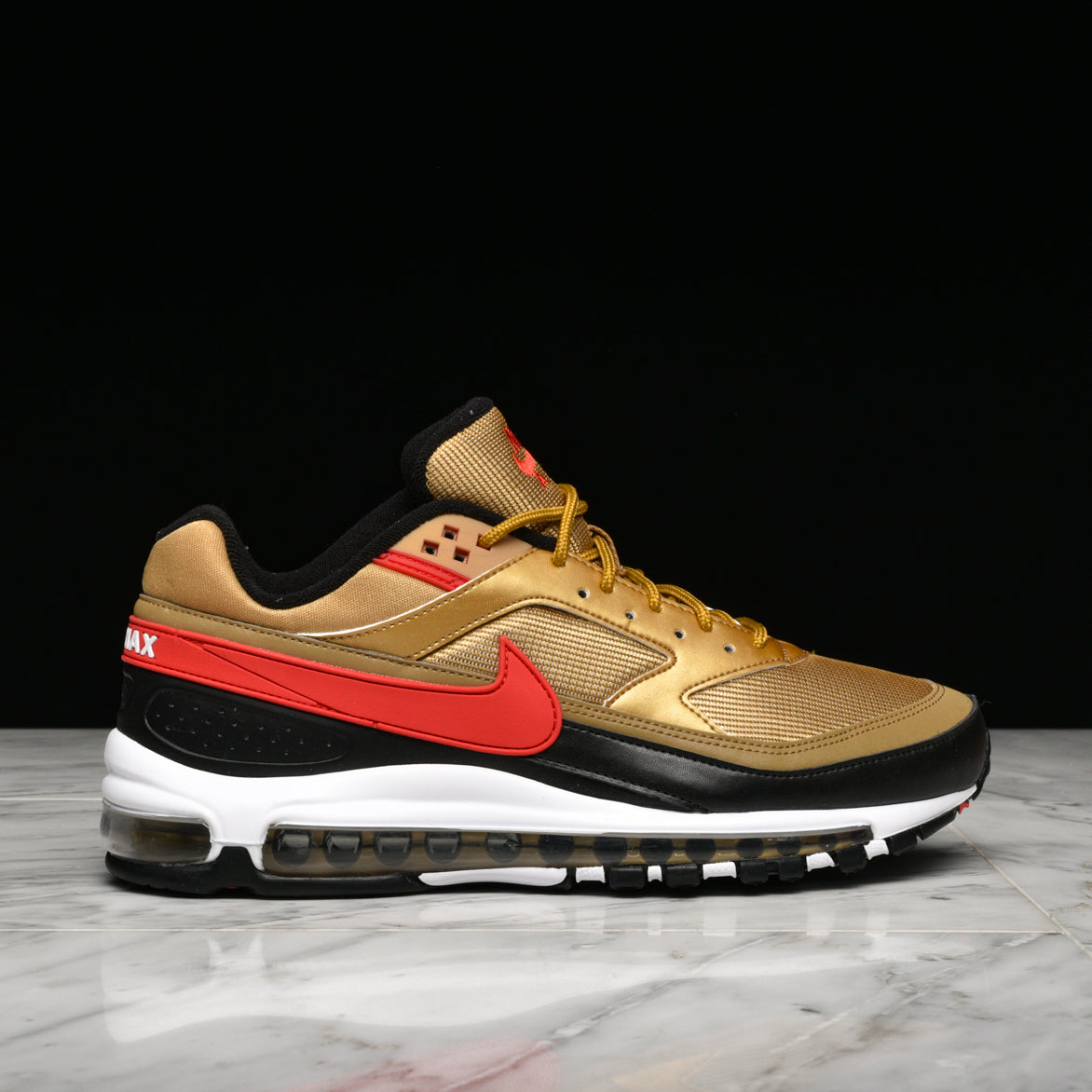 new style d6619 cc3c3 AIR MAX 97/BW - METALLIC GOLD / UNIVERSITY RED
