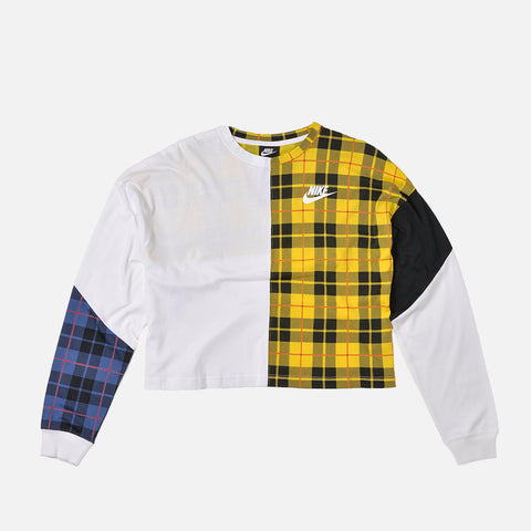 WMNS PLAID L/S CREW - WHITE / BLACK / CHROME YELLOW
