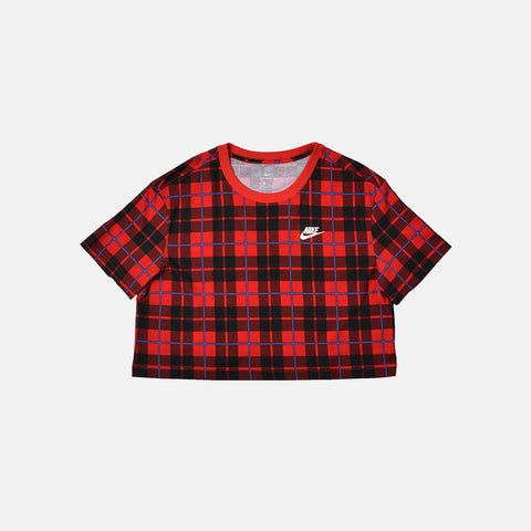 WMNS CROPPED PLAID TEE - UNIVERSITY RED