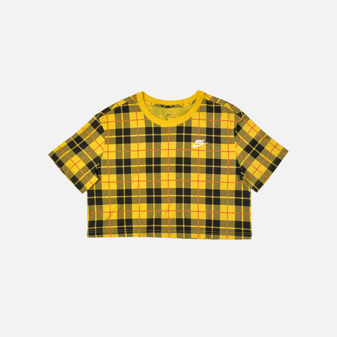 WMNS CROPPED PLAID TEE - CHROME YELLOW