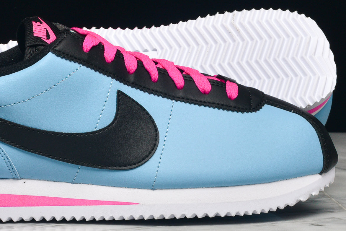 CORTEZ BASIC LEATHER - BLUE GALE / BLACK / LASER FUCHSIA