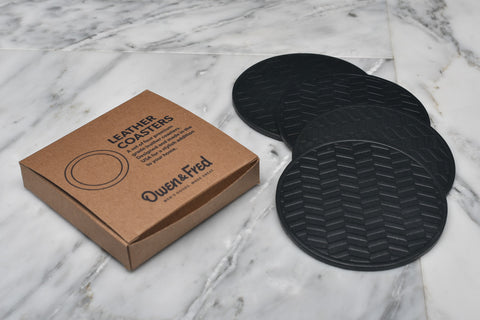 HERRINGBONE LEATHER COASTERS - BLACK