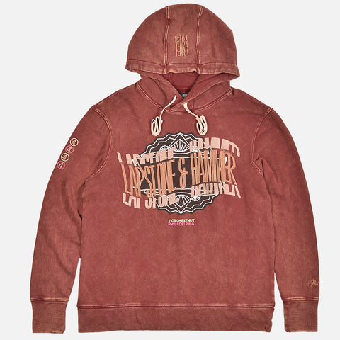 RAC X LAPSTONE & HAMMER YEAR 4 NO POCKET HOODIE - BURGUNDY
