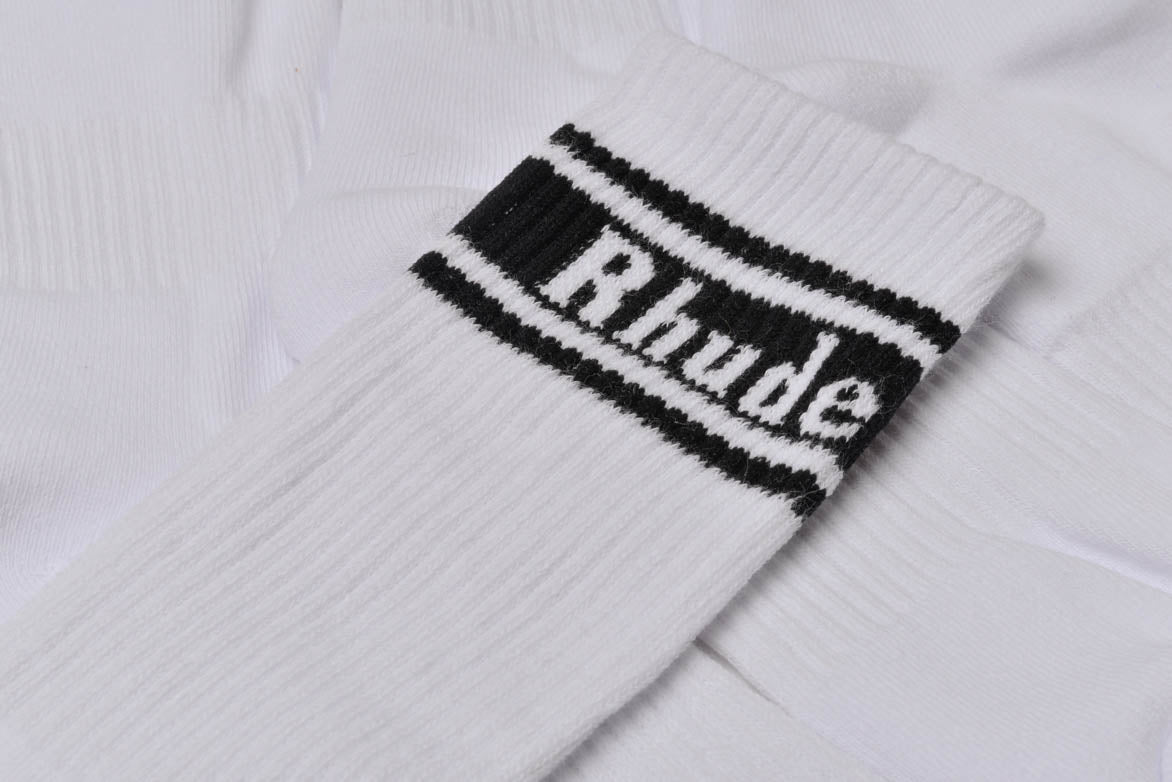 LOGO STRIPED SOCKS - WHITE / BLACK