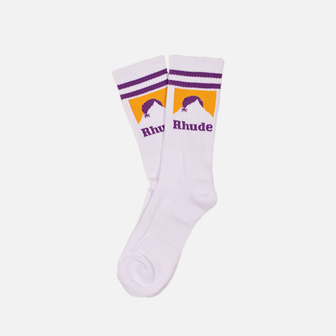 MOUNTAIN LOGO SOCKS - WHITE / PURPLE / YELLOW