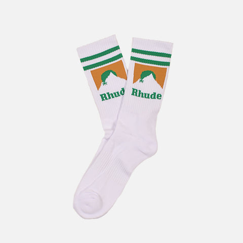 MOUNTAIN LOGO SOCKS - WHITE / GREEN / GOLD