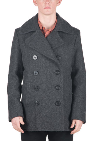 24 OZ. SLIM FIT FASHION PEA COAT - DARK OXFORD GREY