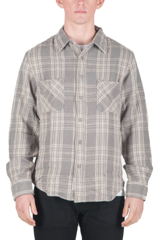 MEN`S COTTON PLAID FLANNEL SHIRT - GREY