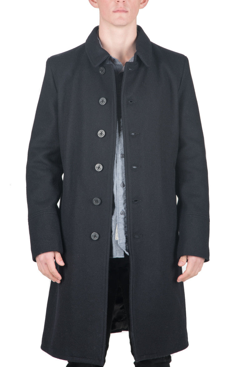 WOOL OFFICER`S TRENCHCOAT - NEW NAVY