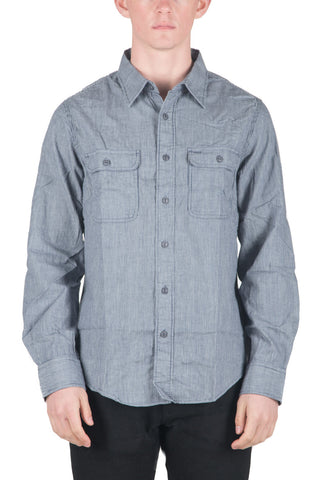 MEN`S COTTON WOVEN SHIRT - TICKING CLOTH