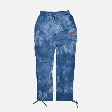 TWO RIVERS FRENCH TERRY CARGO PANT - INDIGO MARBLE DYE