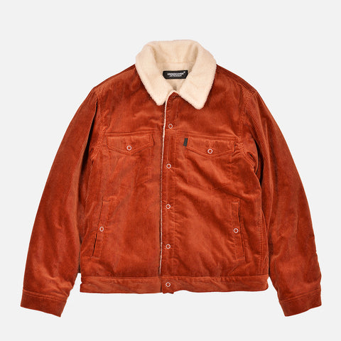 CORDUROY SHERPA JACKET - DARK ORANGE