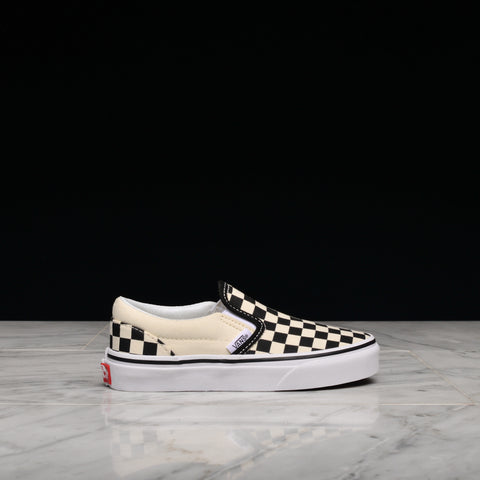 CLASSIC SLIP-ON CHECKERBOARD (KIDS) - BLACK / TRUE WHITE