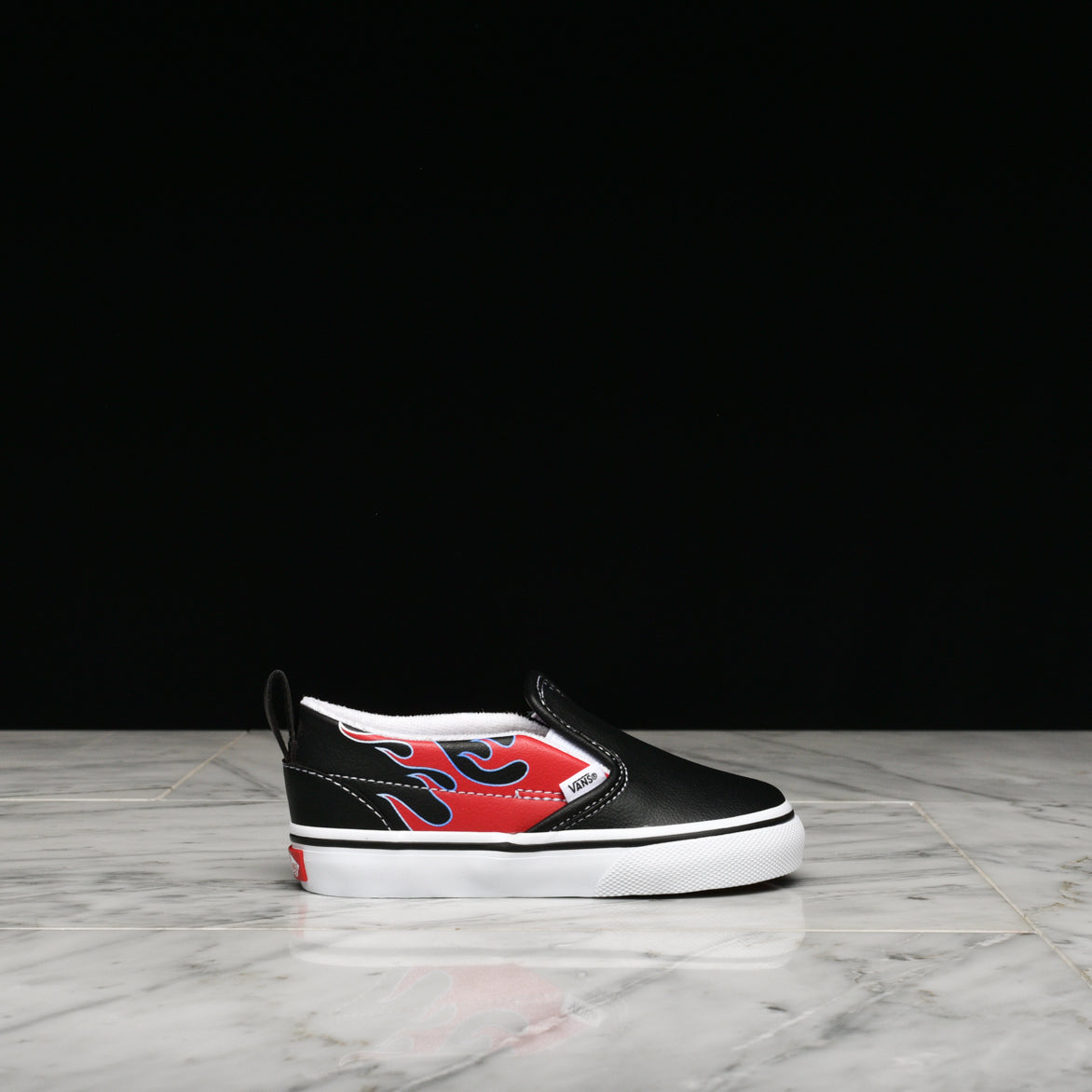 "CLASSIC SLIP-ON ""MOTO FLAME"" (TD) - BLACK / RACING RED"
