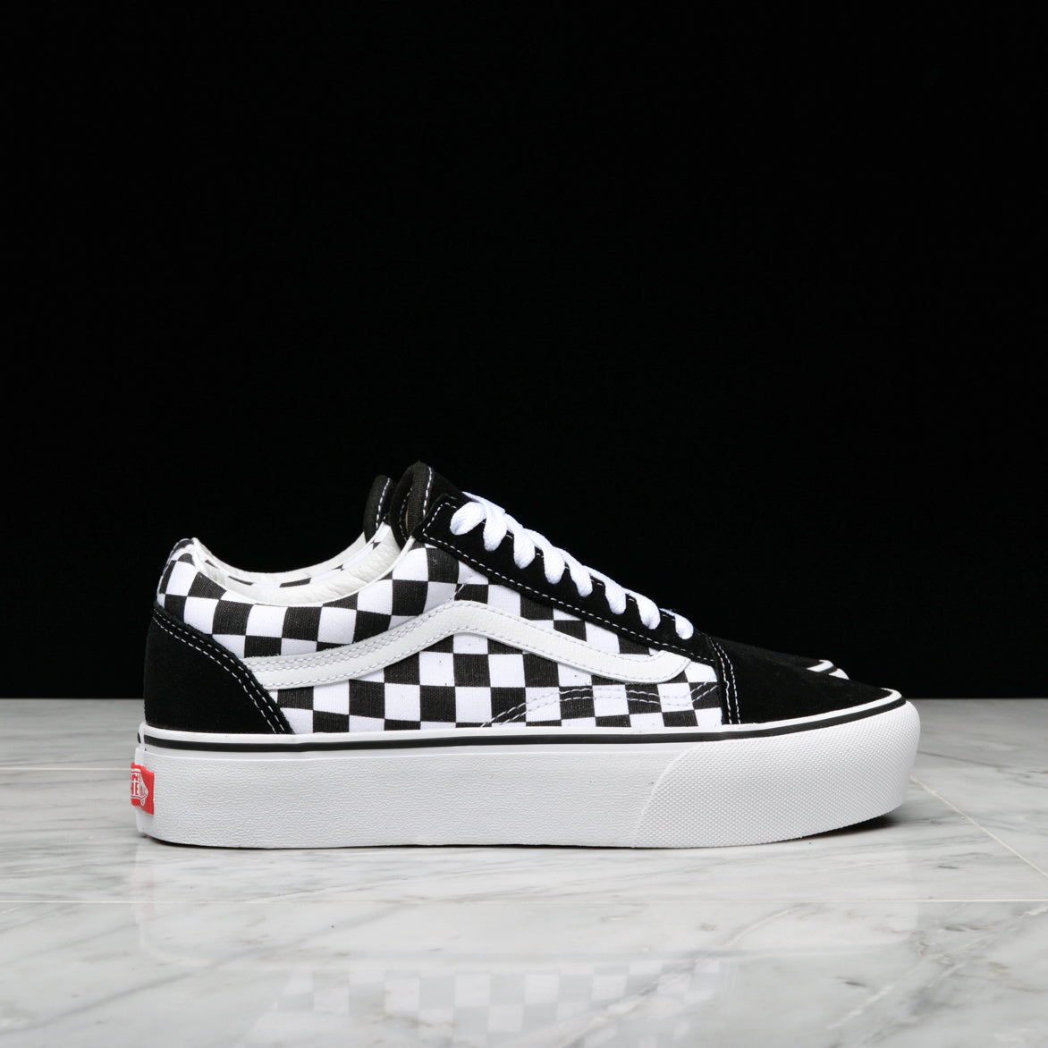 Old Skool Platform Checkerboard Black White