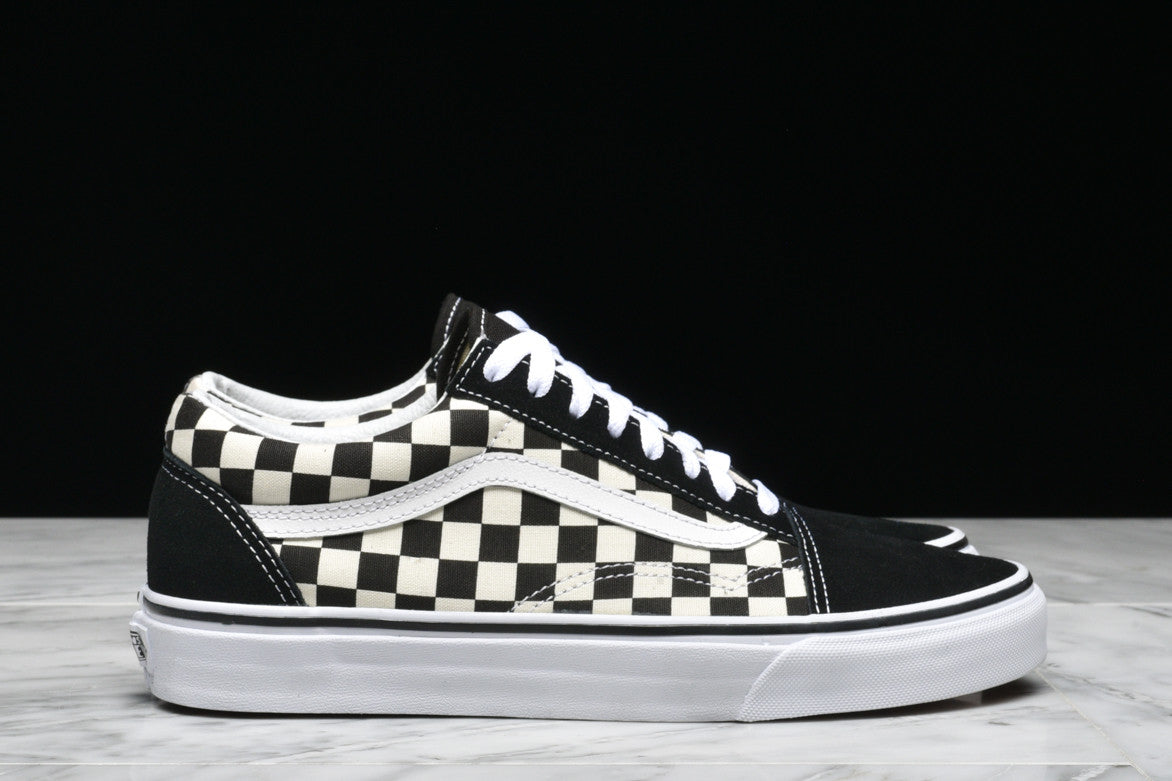 "OLD SKOOL ""PRIMARY CHECK"" - BLACK / WHITE"