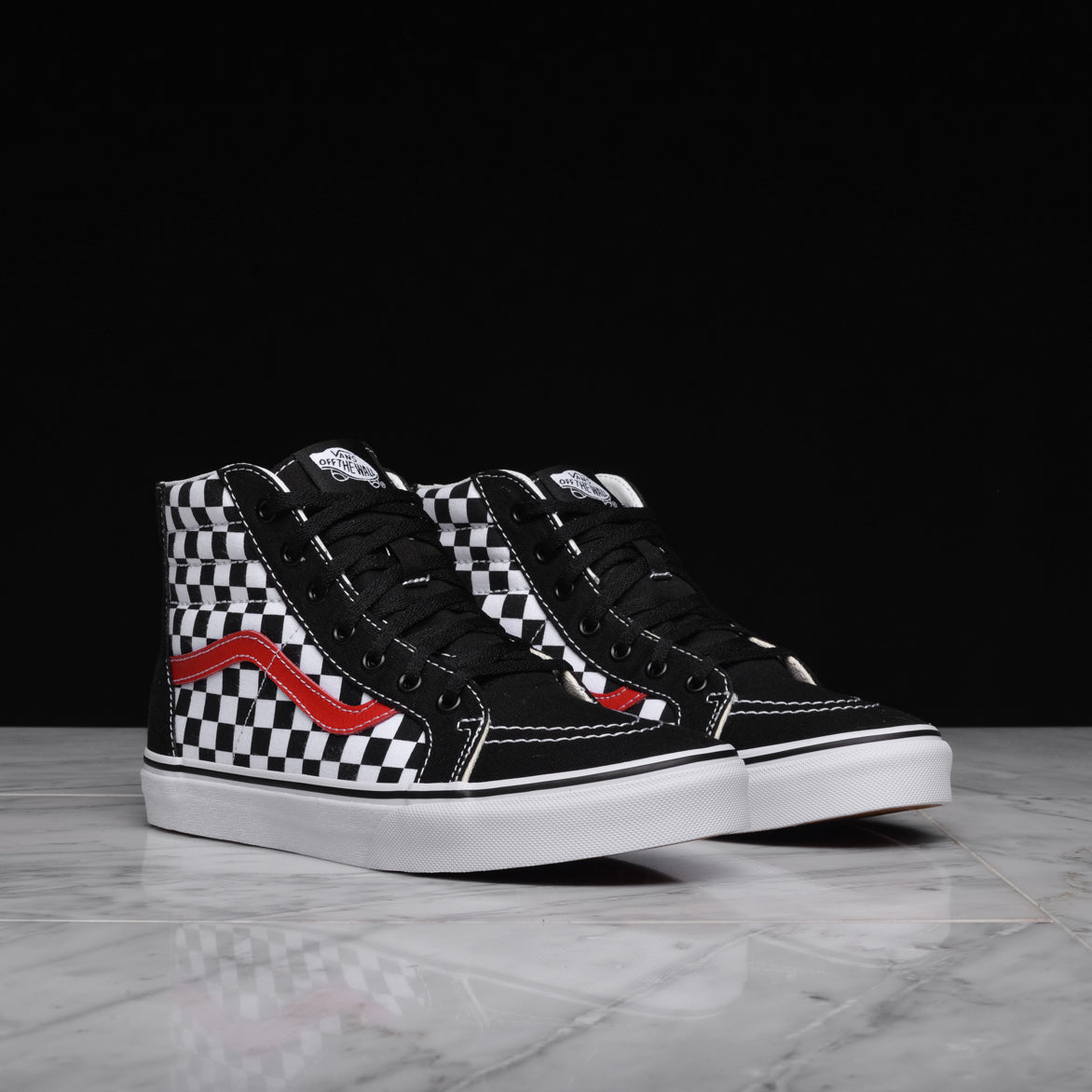 SK8-HI ZIP CHECKERBOARD (KIDS) - BLACK / RED / WHITE