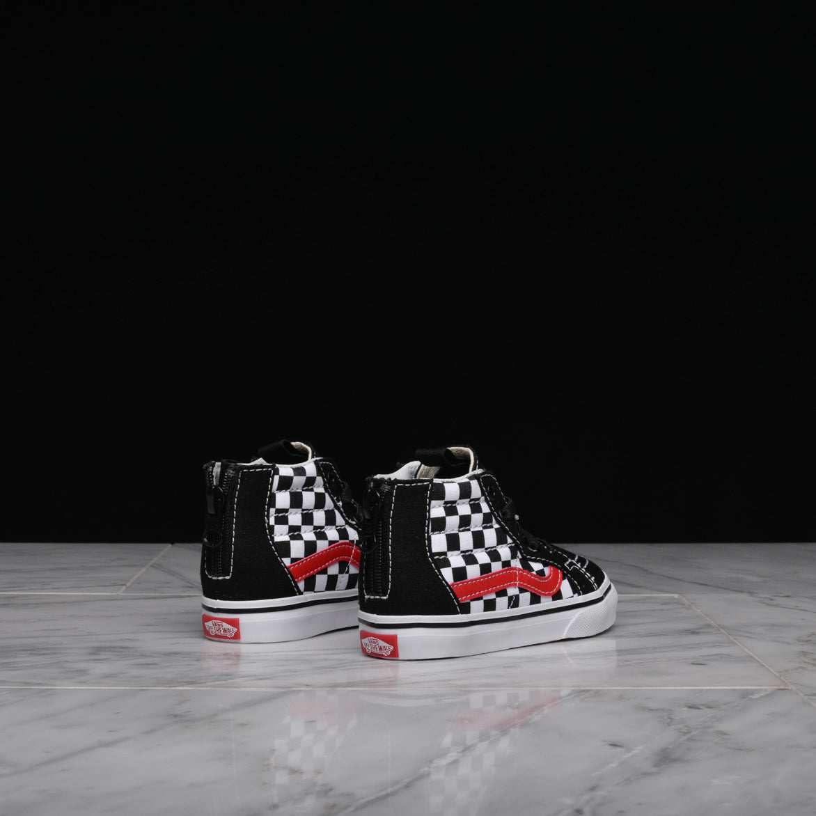 SK8-HI ZIP CHECKERBOARD (TD) - BLACK / RED / WHITE