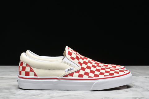 "CLASSIC SLIP-ON ""PRIMARY CHECK"" - RACING RED"