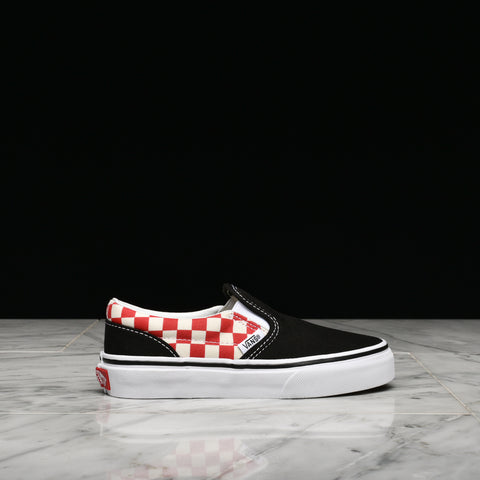 CLASSIC SLIP-ON CHECKERBOARD (KIDS) - BLACK / RED