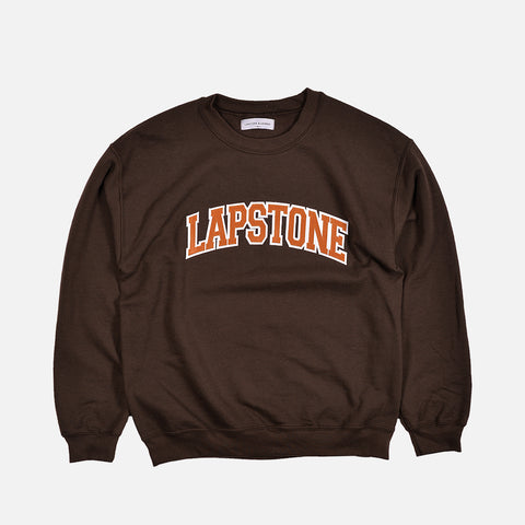 LAPSTONE VARSITY CREWNECK - CHOCOLATE / TEXAS ORANGE