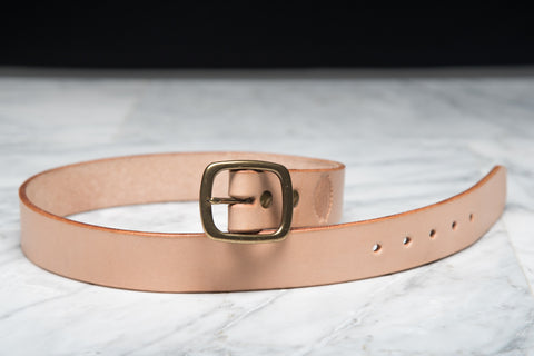 LAPSTONE & HAMMER VEGTAN BRASS LEATHER BELT (OVAL)