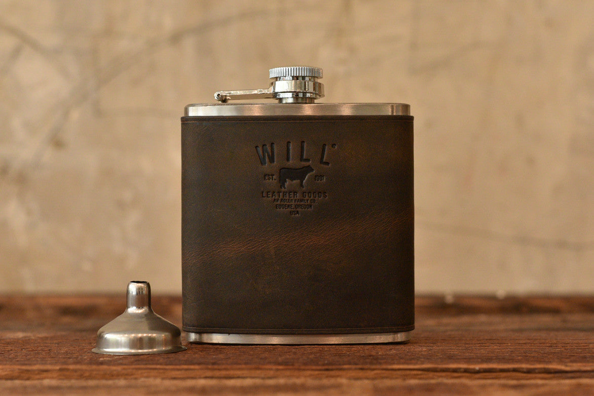 LEATHER & STAINLESS STEEL FLASK - DARK BROWN