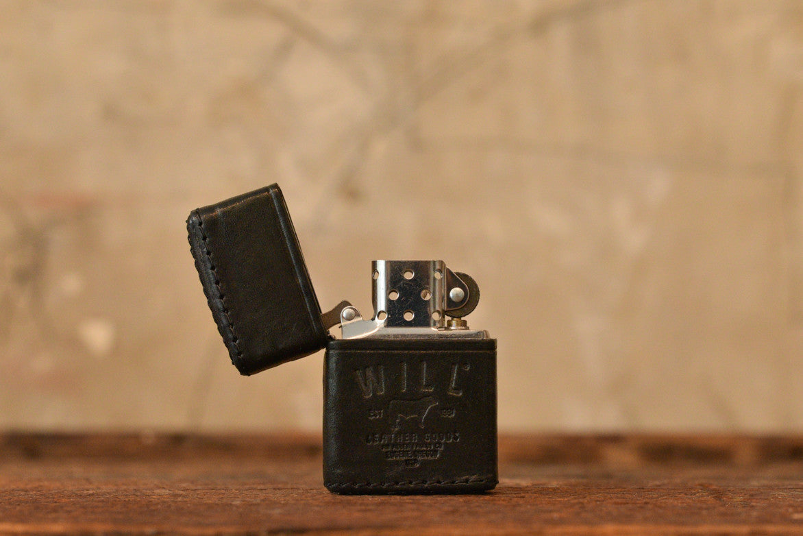 LEATHER ZIPPO LIGHTER - BLACK