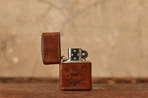 LEATHER ZIPPO LIGHTER - BROWN
