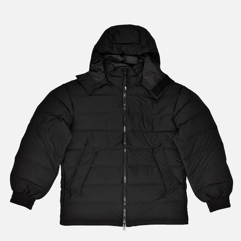 SEAMLESS HOODED DOWN JACKET - BLACK