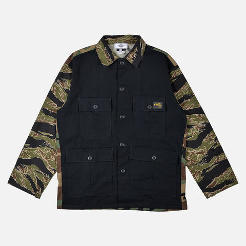 RECONSTRUCT MILITARY FATIGUE JACKET - BLACK