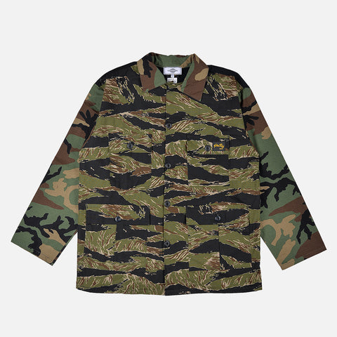 RECONSTRUCT MILITARY FATIGUE JACKET - TIGER CAMO
