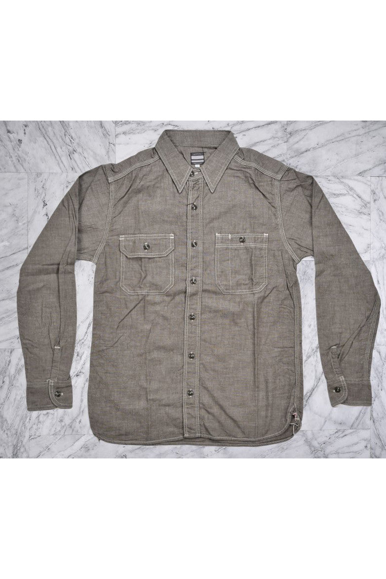 5oz SELVEDGE CHAMBRAY WORKSHIRT- GREY