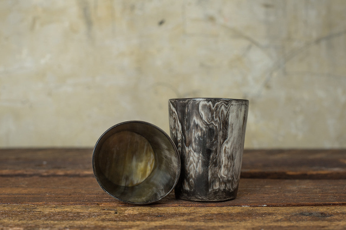 ROSE & FITZGERALD COW HORN WHISKEY TUMBLER - DARK