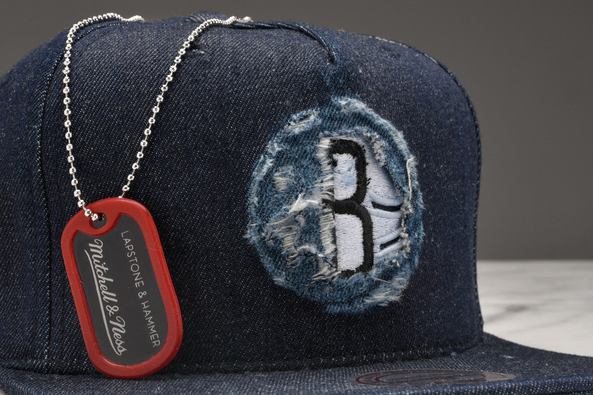 "LAPSTONE & HAMMER X MITCHELL & NESS ""DESTRUCTED DENIM"" - NETS LOGO"