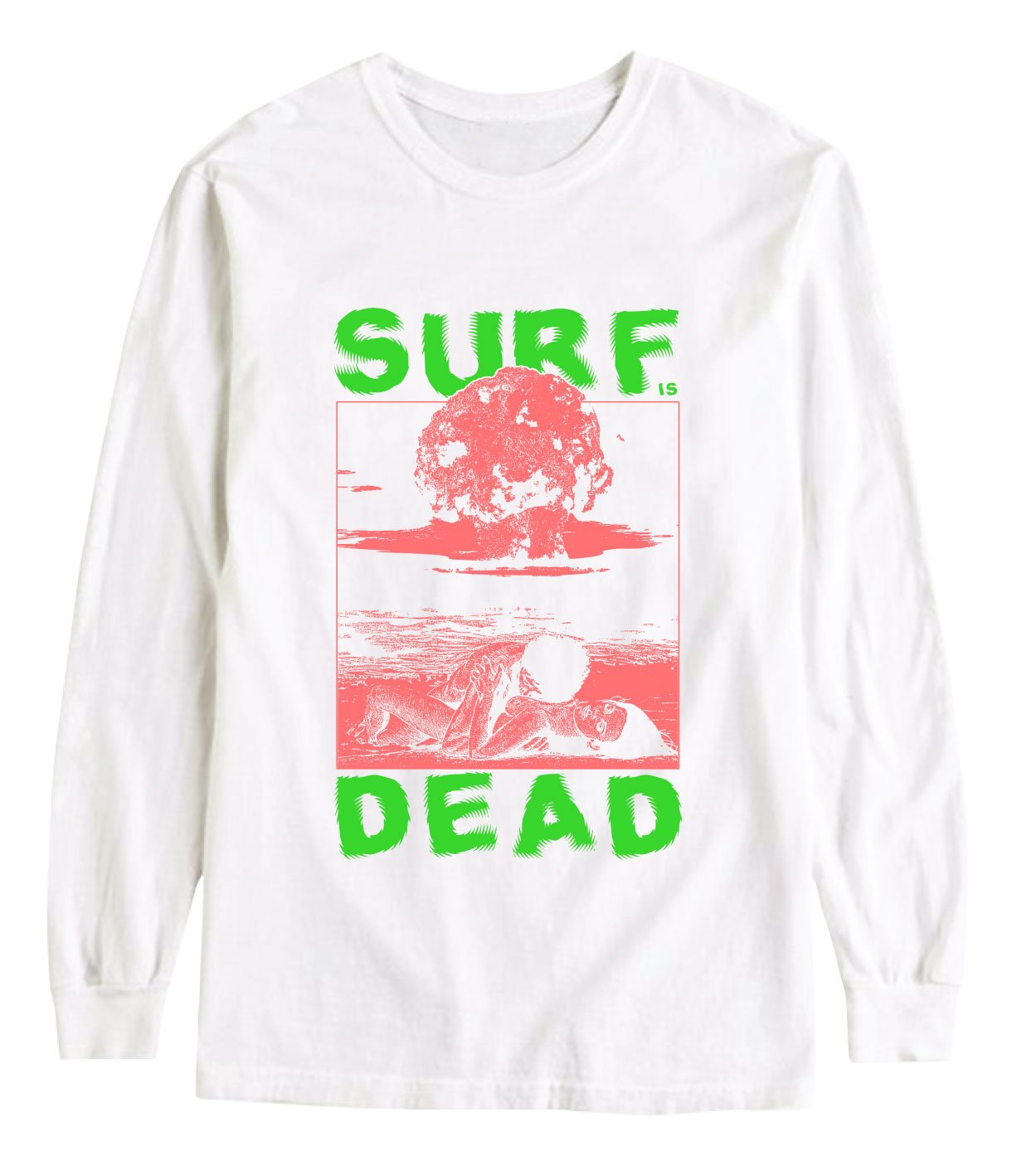 NUCLEAR BEACH LONG SLEEVE TEE - WHITE