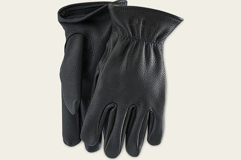 BUCKSKIN LEATHER-LINED GLOVES - BLACK
