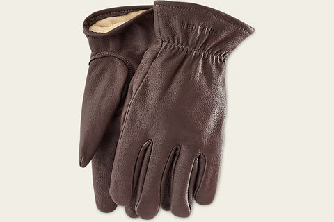 BUCKSKIN LEATHER-LINED GLOVES - BROWN