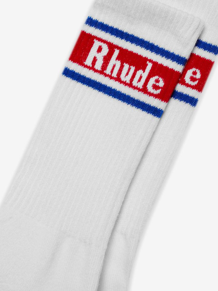 VINTAGE LOGO SOCK - WHITE / RED / BLUE