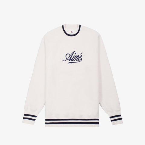 REVERSE FLEECE CREWNECK - CREAM