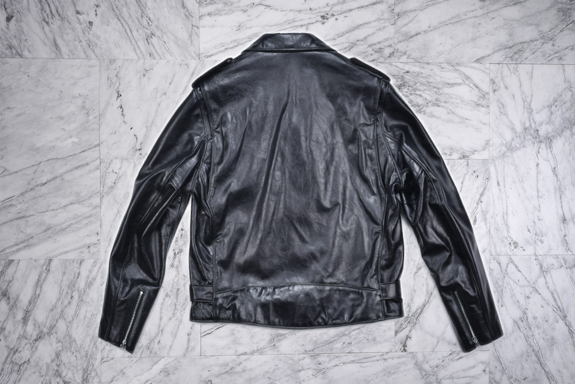 LIGHTWEIGHT FITTED COWHIDE MOTORCYCLE JACKET - BLACK