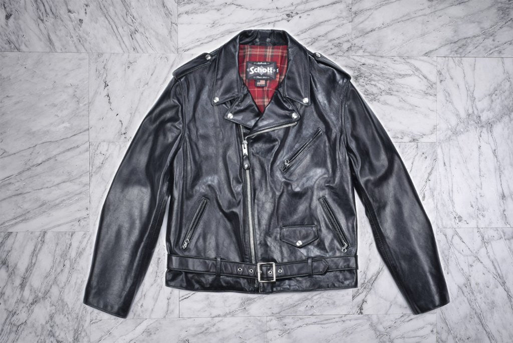 LIGHTWEIGHT VINTAGE FITTED COWHIDE MOTORCYCLE JACKET - BLACK