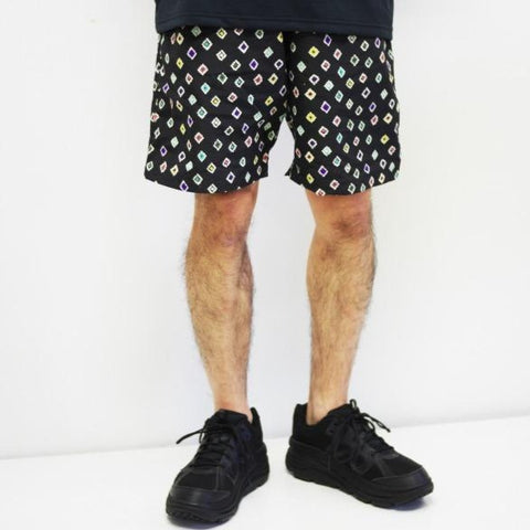 SWIM SHORT NYLON TUSSORE/PRINT - BLACK
