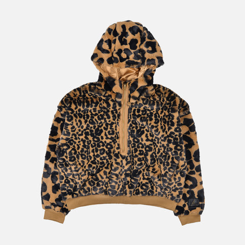WMNS FAUX FUR COURT-TO-RUNWAY HOODIE - ELEMENTAL GOLD