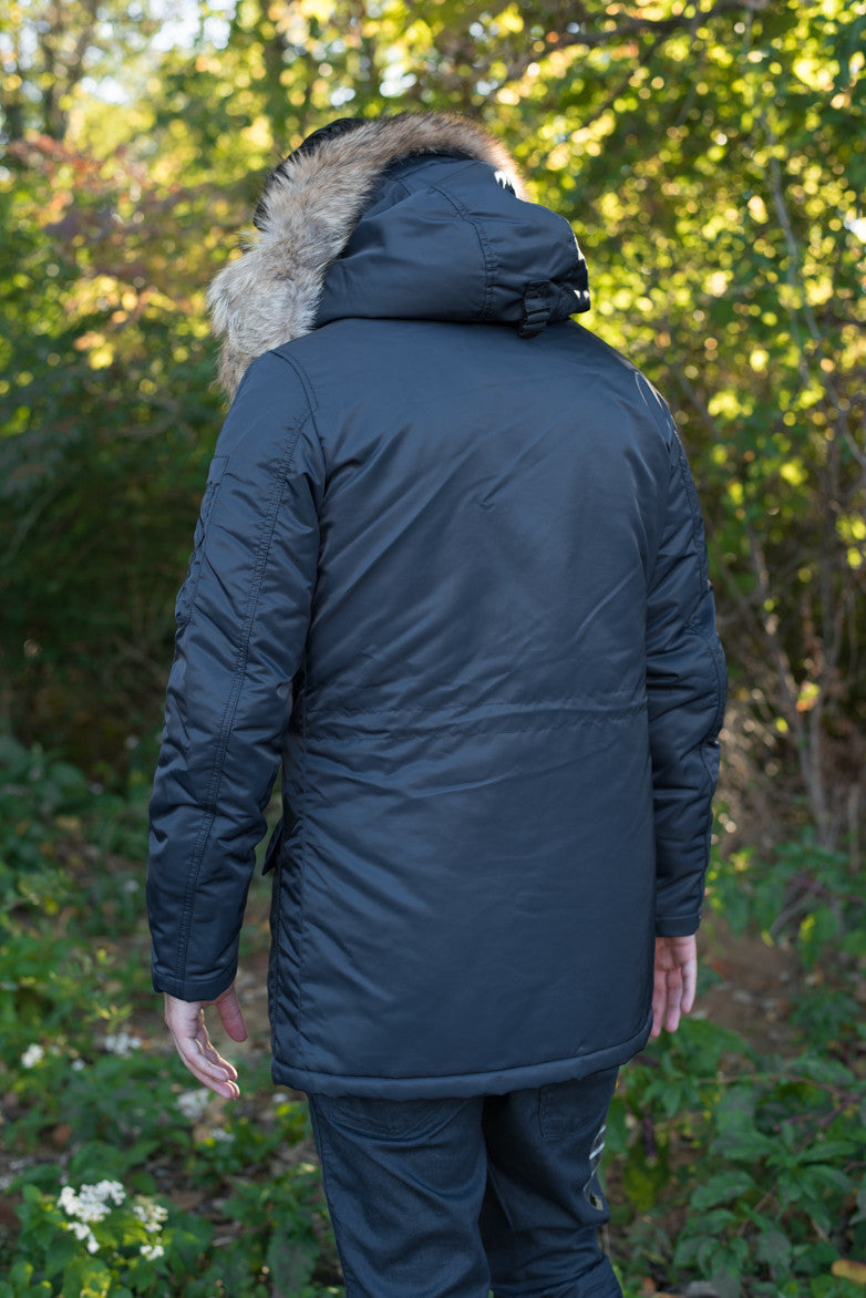 WAXED N3-B SNORKEL PARKA REAL FUR_NEW FLIGHT SATIN - TOTAL ECLIPSE