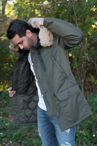 WAXED N3-B SNORKEL PARKA REAL FUR_NEW FLIGHT SATIN - OLIVE