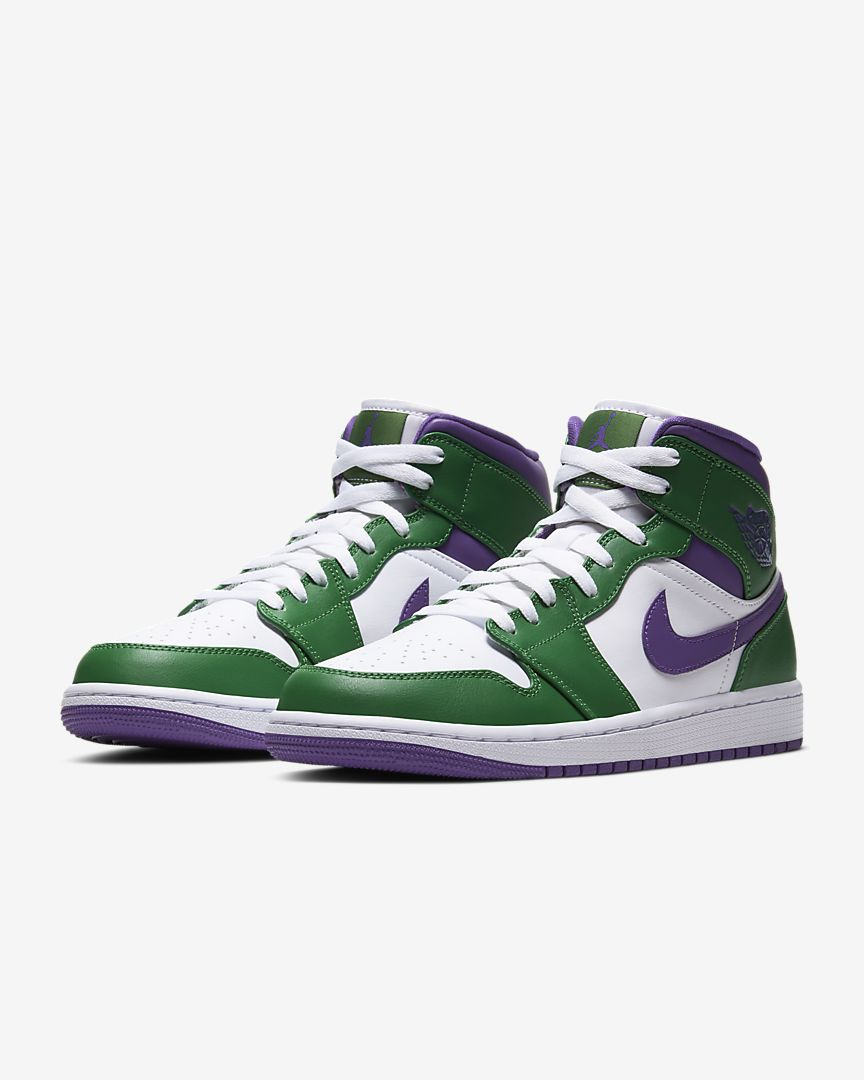 AIR JORDAN 1 MID - ALOE VERDE / WHITE / COURT PURPLE