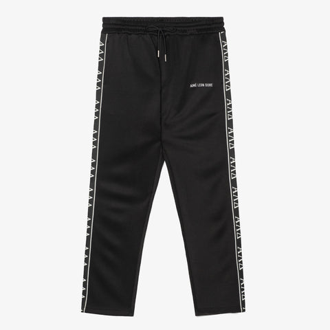 GREEK LETTER TRACK PANTS - BLACK
