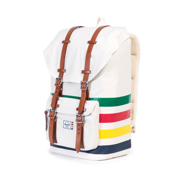 LITTLE AMERICA BACKPACK - WHITE / HBC OFFSET STRIPE